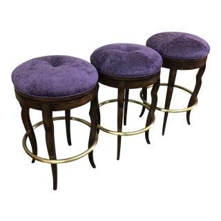 Purple Chenille Swivel Bar Stools - Set of 3