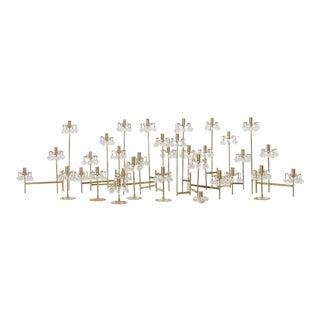 J. & L. Lobmeyr Brass and Swarovski Crystal Candlesticks - 15 Pc.