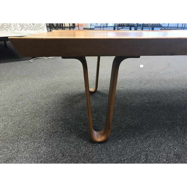 Mid-Century Wood Hairpin Legs Coffee Table