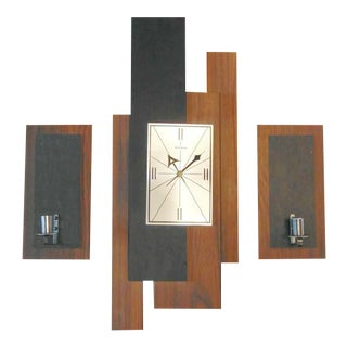 Mid-Century Verichron Clock & Sconces - Set of 3