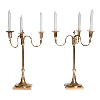 Large Pair of Swedish Brass Candelabra from Skultuna