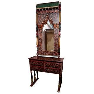 Indian Folk Art Style Mirror & Matching Console