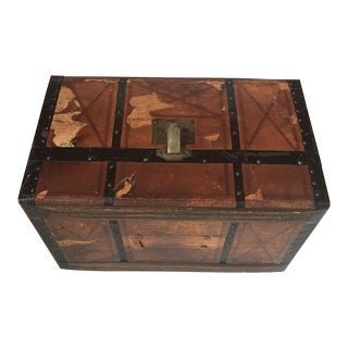 Vintage Distressed Leather & Wood Trunk