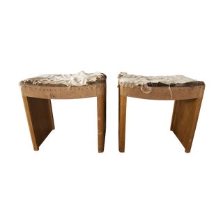 Distressed Vintage Wooden Stools - A Pair
