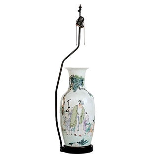 19th-C. Qianjiang Vase on Lamp Base