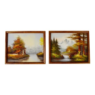 Vintage Framed Landscape Oil Paintings - A Pair