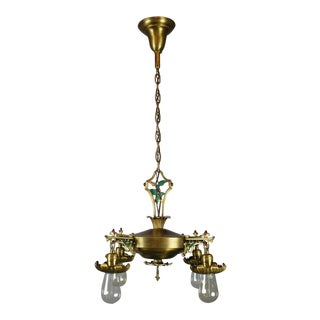 Polychrome Pan Fixture with Holly Motif (4-Light)