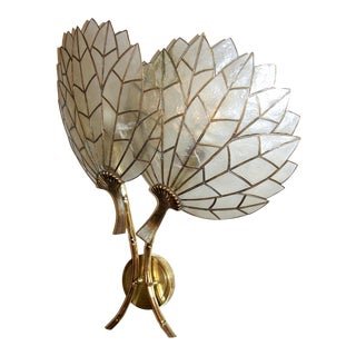 1930s Art Deco Double-Flower Leaded Sconce in Mother-of-Pearl