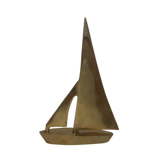 Image of Brass Sailboat Sculpture