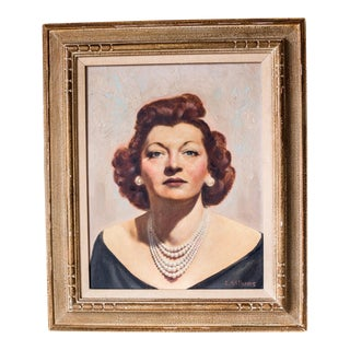 1950s Glamorous Woman Oil Painting on Board
