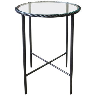 Round Black Metal Glass Top Side Table