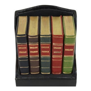Miniature Italian, Spanish, German, French & English Dictionary Collection - Set of 5
