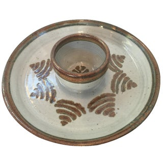 Mid-Century Chips & Dip Pottery Platter