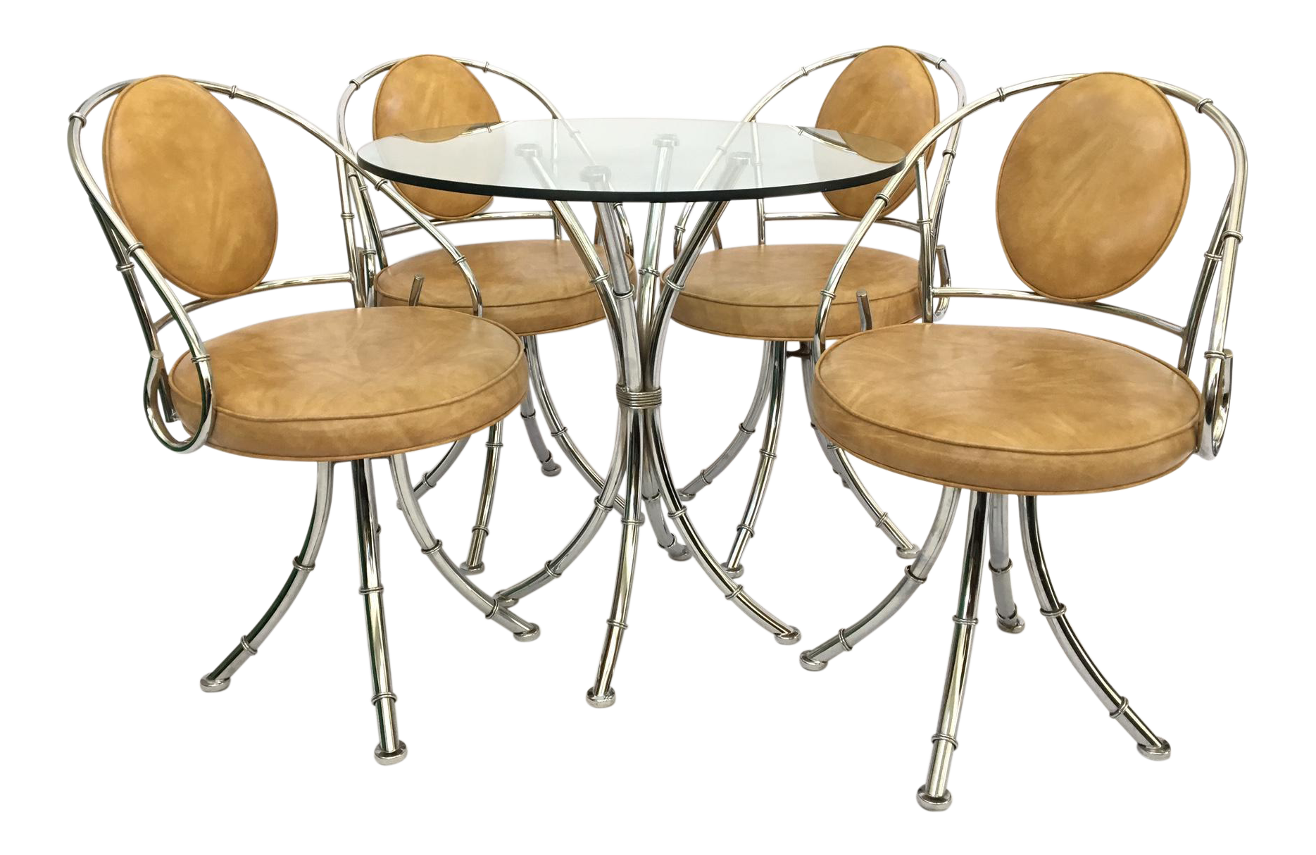 Mid Century Hollywood Regency Chrome Bamboo Bistro Dining Set   Set Of 5