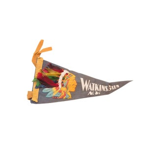 Blue Watkins Glen NY Headdress Native American Felt Flag