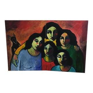 "Lorena Rosenfeld ""The Ties That Bind"" Acrylic Diptych Painting"