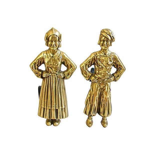 1940s Brass Dutch Fireplace Andirons - Image 1 of 5