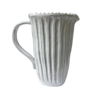 Vietri Incanto White Stripe Water Pitcher