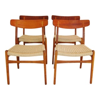 Hans Wegner Ch-23 Teak & Oak Dining Chairs - Set of 4