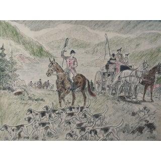 1950's English Hunt Scene Print