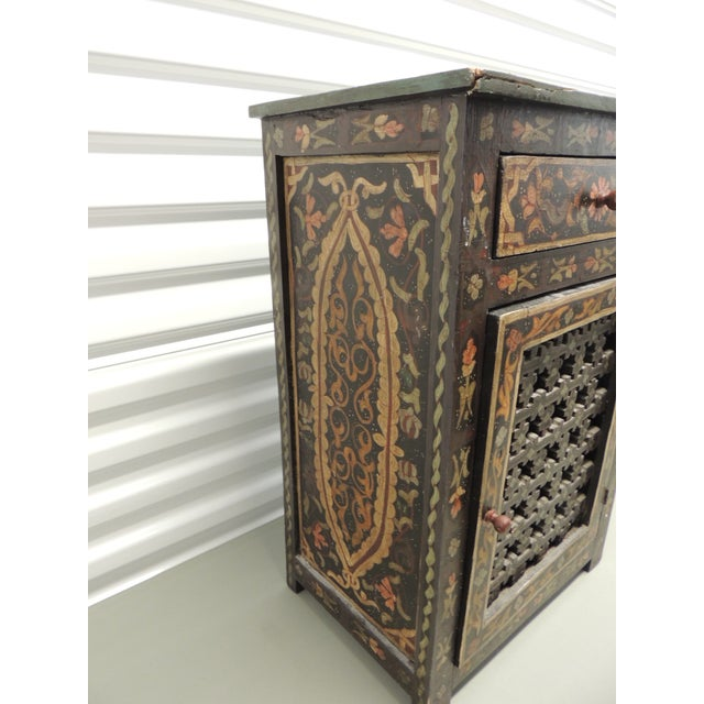 Black Hand painted vintage Indian night stand with Drawer - Image 3 of 5