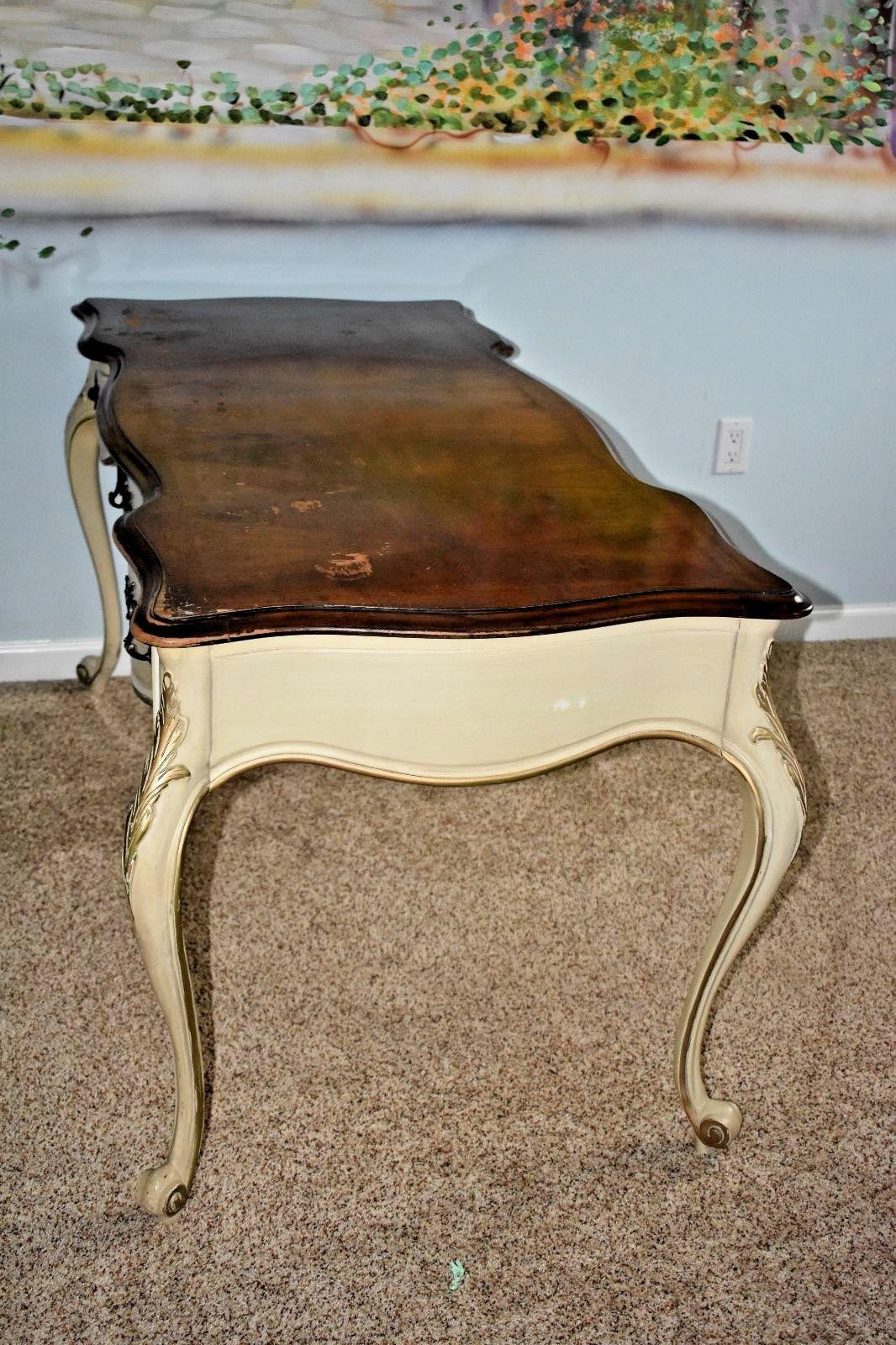 Perfect Vintage White Fine Furniture Co Ivory Desk   Image 7 Of 11