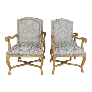 Carved & Upholstered Ram Accent/Side Chairs - Set of 4