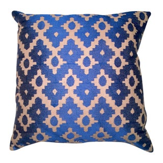 Cobalt Blue Embroidered Linen Pillow