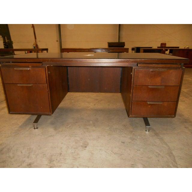 Mid-Century Modern Walnut Executive Desk - Image 3 of 5