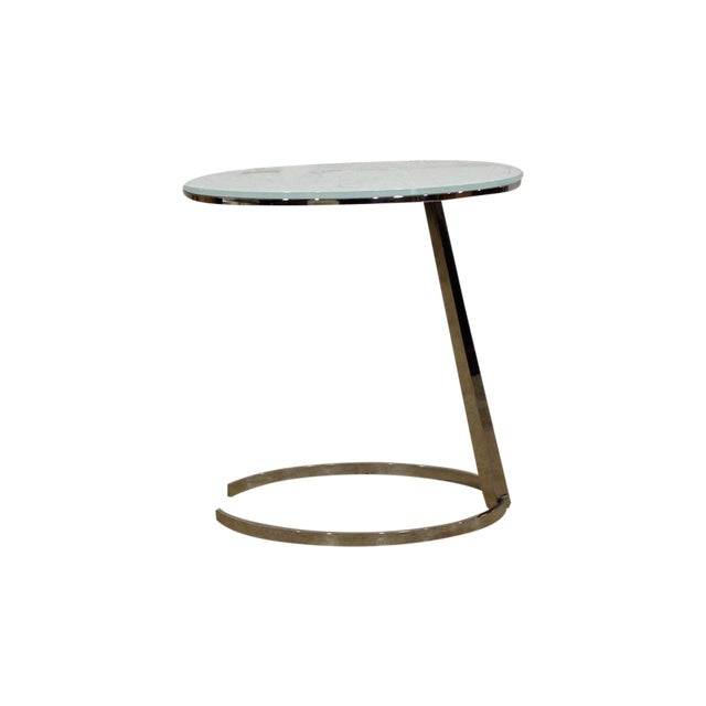 Contemporary Chrome C-Base Side Table - Image 1 of 4