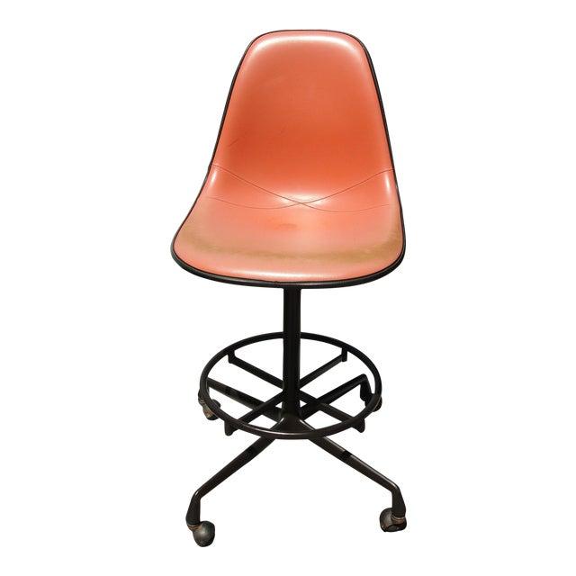 Eames Mid-Century Orange Bar Stool - Image 1 of 9