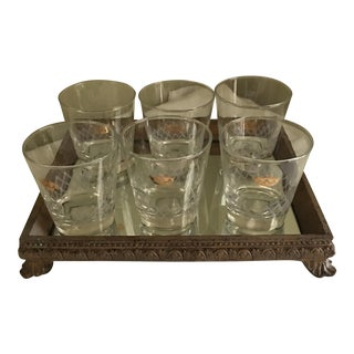 Renaissance Style Mirrored Tray & Glasses - 7 Pieces