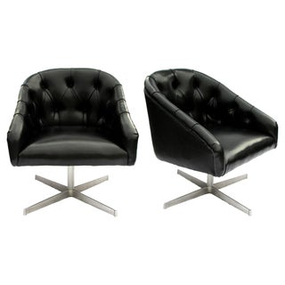 Shelby Williams Mid-Century Tufted Swivel Chairs - Pair
