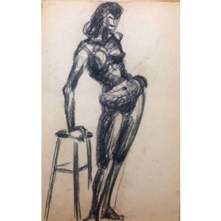 1950's Female Nude Charcoal Drawing