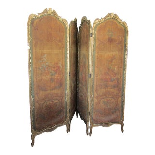 Antique Painted Linen & Carved Wood Room Screen