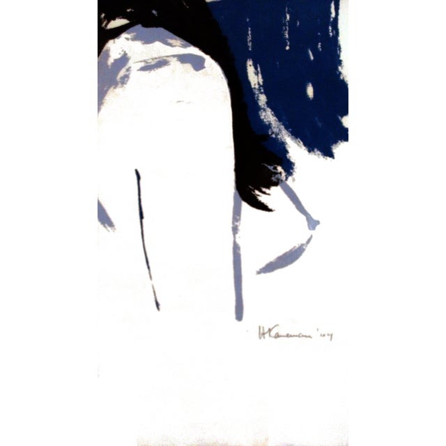 "Image of ""Moody Blue"" Abstract Portrait, 1964 Serigraph"