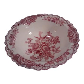 Bristol Crown Ducal English Cranberry Floral/Griffin Bowl