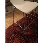 Image of Crate & Barrel White & Chrome Bar Stools - A Pair