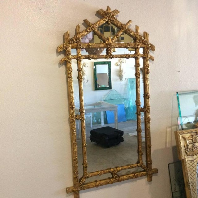 Vintage Hollywood Regency Floral Faux Bois Giltwood Wall Mirror - Image 2 of 8