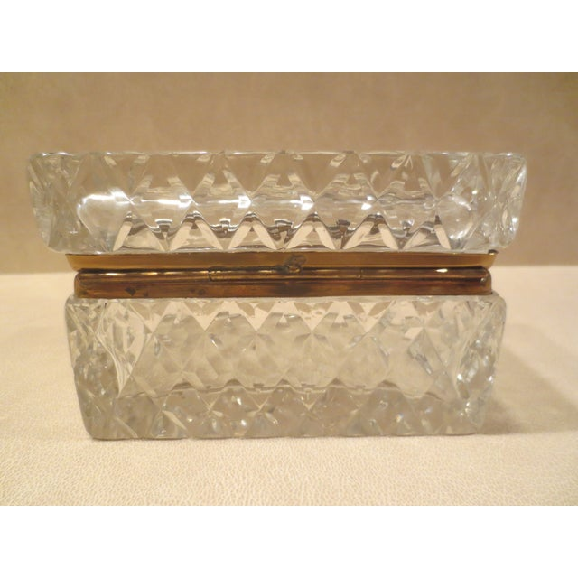 Large Cut Glass & Brass Antique French Vanity Box - Image 6 of 7