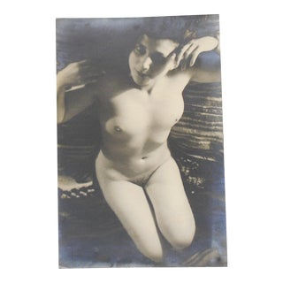 Antique Silver Gelatin Photograph-Kneeling Nude Female