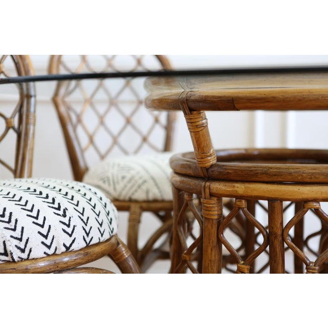 Bamboo Dining Table with Mudcloth Chairs - Set of 5 - Image 5 of 11