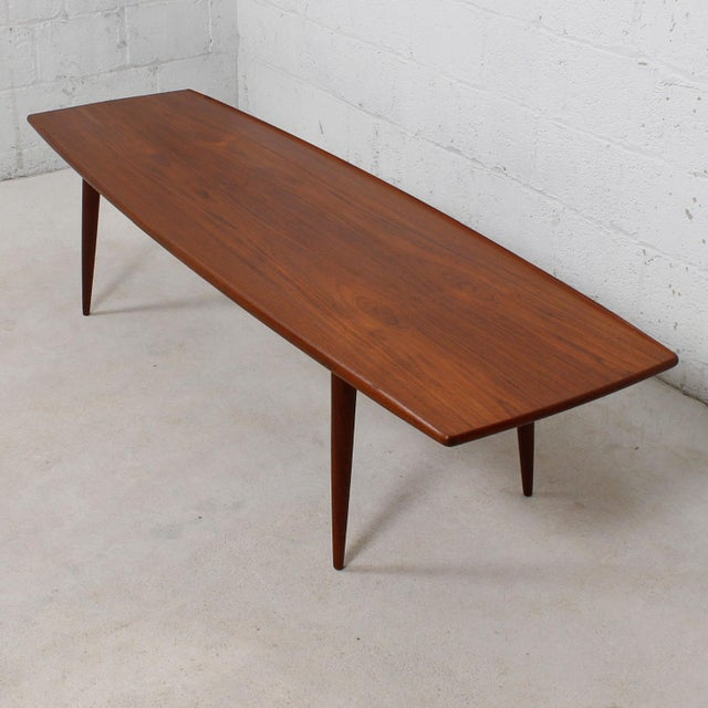 Long Danish Modern Teak Surfboard Coffee Table - Image 2 of 7