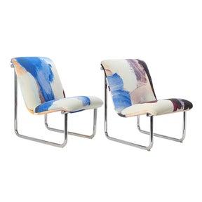 Vintage Chrome Tubular Side Chairs - Pair
