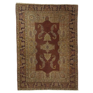 Hand Knotted Wool Turkish Rug - 4′ × 5′6″