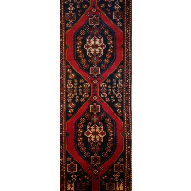 """Navy & Red Persian Tribal Runner - 3'7"""" X 9'10"""" - Image 1 of 5"""