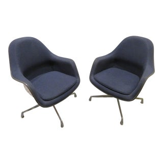Eames for Herman Miller Upholstered Bucket Swivel Chairs - a Pair