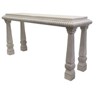 Imposing Hollywood Regency White Washed Carved Console