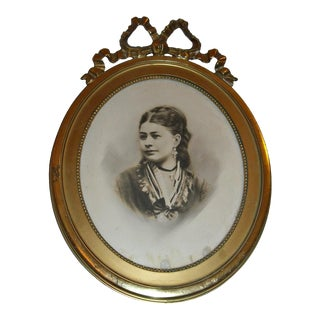 Antique Picture in Gilt Oval Frame