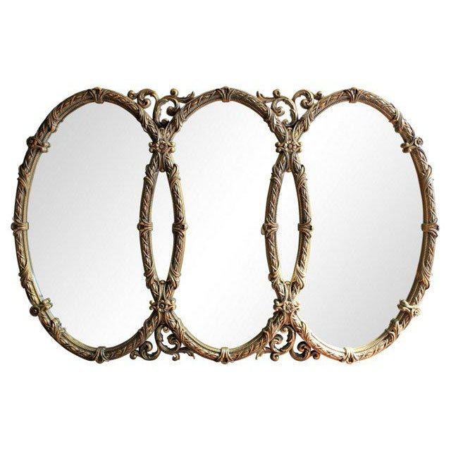 French Triple Oval Gold Mirror-Vintage - Image 2 of 4